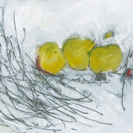 Christine Alfery Artwork Still Life with Three Green Apples, 2010 Other Painting, Abstract Landscape