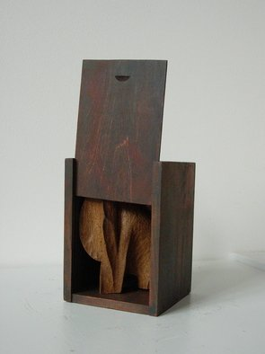 Cecile Tissot: 'Petit support ', 2009 Wood Sculpture, undecided.  Carved oak in small box ...