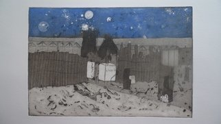 Cecilia Sassi: 'Party at 1 AM', 2011 Etching, Surrealism.  Party in Beach               ...