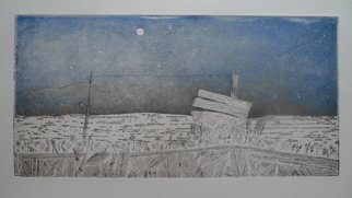 Cecilia Sassi: 'Party at Night at 0:05 AM', 2011 Etching, Surrealism.   Party in the Salt Desert                ...