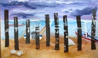 Cecilia Sassi: 'behind the fence', 2017 Painting, Expressionism. Artist Description: Oil on canvas.Series, Borderland.In this series there are always two sides and the willing to cross.In this particular canvas there is a beach, a fence. In one side some eggs with life inside and the sand. In the other side the sea, some boats, may ...