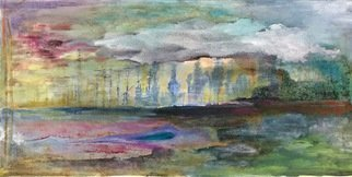 Cecilia Sassi: 'detour', 2017 Painting, Expressionism. Artist Description: Green is the landscape. some path, and flowers and water are in the foreground. After that the trees, some of them burned. and above the clouds trying to talk .This is an oil painting on canvas. ...