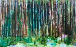 Cecilia Sassi: 'green forest', 2017 Painting, Expressionism. Artist Description: Oil on canvasSeries, BorderlandThere is always a border to cross, something that don t let us rich what is behind.In this case there are trees, a lot of them. Inside its almost night, but always is something behind. ...