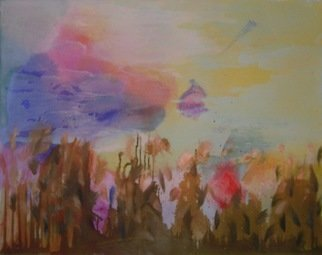 Cecilia Sassi: 'nap time', 2010 Painting, Expressionism. Artist Description: It is nap time, only the clouds play in the sky, like mother and son. In the field bushes are static enjoying the moment. ...