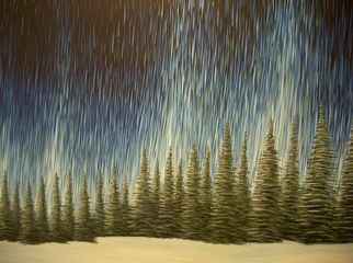 Landscape Acrylic Painting by Cedric Colond Title: Aurora Borealis, created in 2008