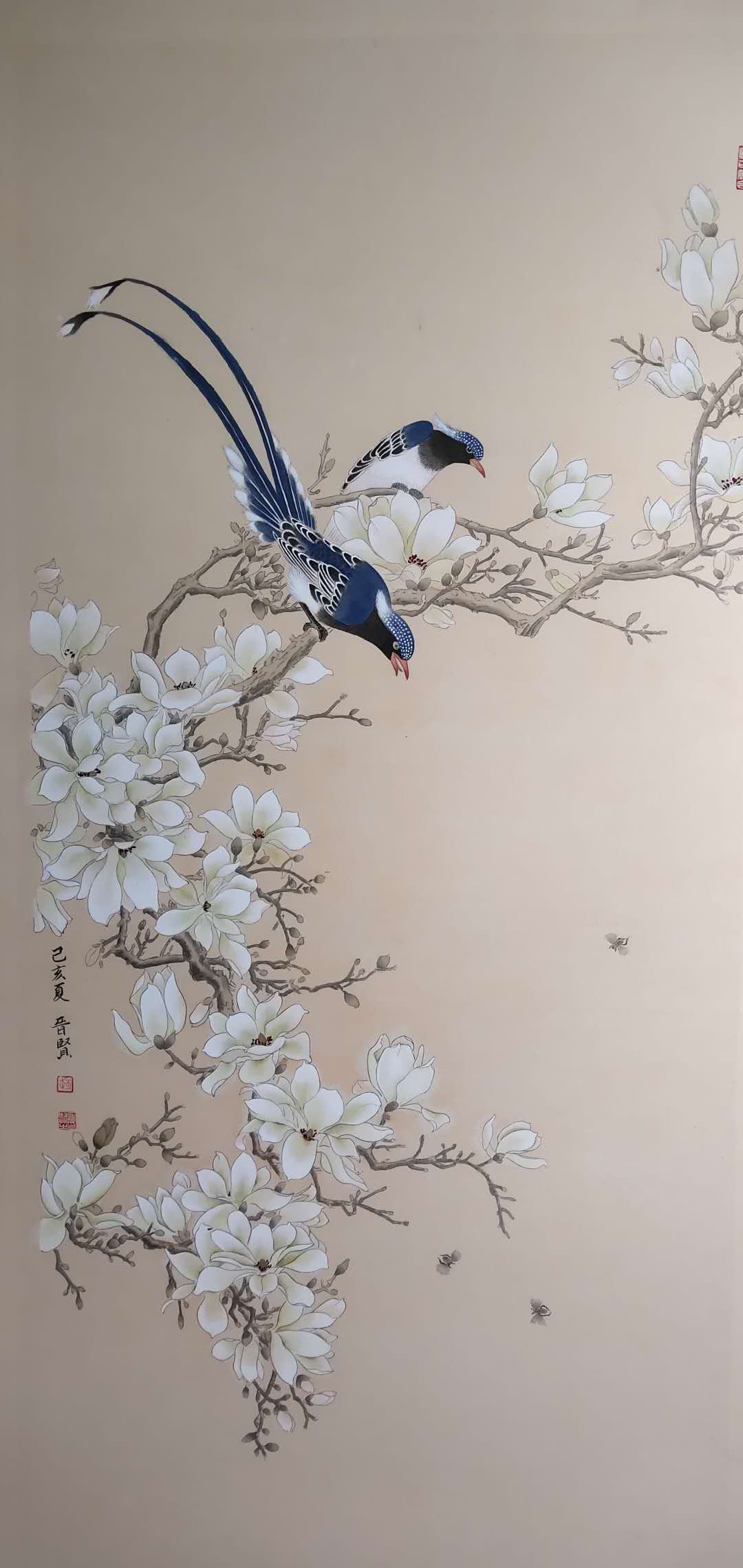 Jinxian Zhao : 'Double Happiness chinese painting', 2019 Ink Painting, Birds. This is meticulous painting , belong to one of chinese painting.  key on the brush line . 100handmade . ...