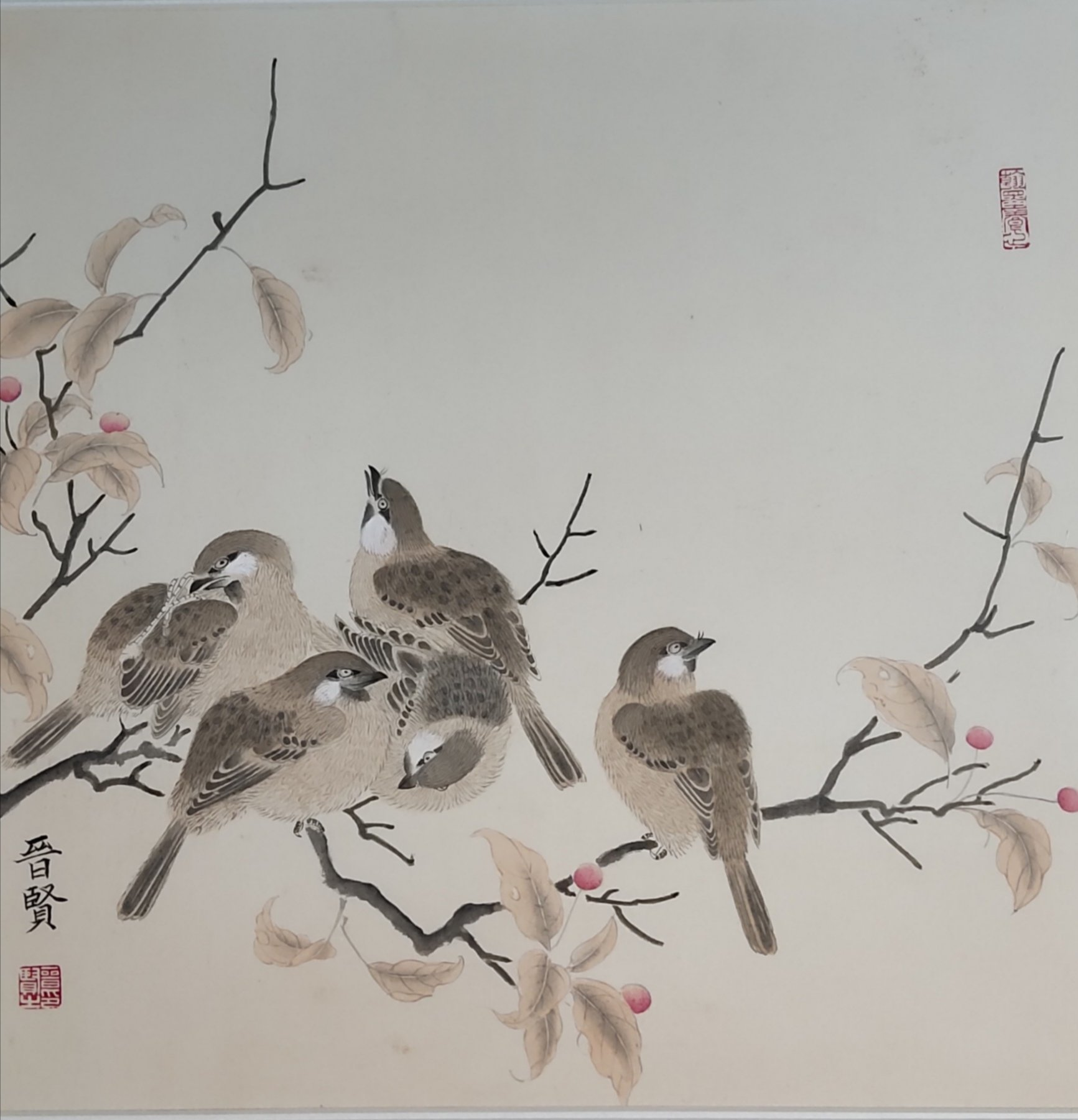 Jinxian Zhao : 'chinese painting', 2019 Ink Painting, Birds. This is meticulous painting , belong to one of chinese painting.  key on the brush line , difference to other type painting. ...