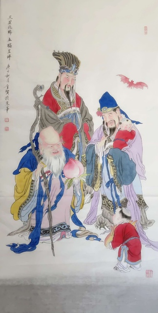 Jinxian Zhao   'Happiness And Longevity', created in 2020, Original Painting Ink.