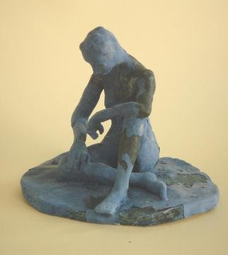 Bobbie Newman: 'Am I Blue', 2005 Ceramic Sculpture, Figurative. Artist Description: Blue and black glazed nude female dancer like figure sitting in reflective pose...