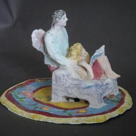 Bobbie Newman: 'Her Guardian Angel', 2005 Ceramic Sculpture, Love. Artist Description: Female Lover reading a book in a chair with winged male watching over her. Stained bisque ware....