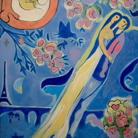 C�u Franco Artwork Chagall III, 2011 Acrylic Painting, Love