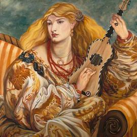 Christine Lytwynczuk: 'Carees', 2005 Acrylic Painting, Fashion. Artist Description: Giclees available from $60 to $1500.  Please inquire with artist.Caressa was inspired by the world traveling women of the 1800' s.  Dripping with theatrics, adventure and romance, she sits in a rich interior lost in the emotion of her music. She is also a homage to the ...