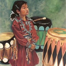 Christine Lytwynczuk: 'Drummer Girl', 1999 Acrylic Painting, Southwestern. Artist Description: Original sold, Giclees available 40x48 $975 and smaller, please contact artist. ...