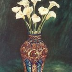 Lillies in Mexican Vase By Christine Lytwynczuk
