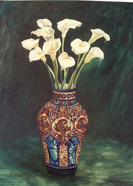 Christine Lytwynczuk  'Lillies In Mexican Vase', created in 2002, Original Painting Other.