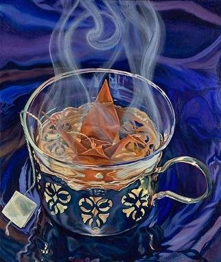 Christine Lytwynczuk: 'Niether Insipid Nor Bitter', 2005 Oil Painting, Visionary. Giclee available for $750.For a perfect cup of tea, the leaves must be infused for exactly 5 min.  If the time is less than that, the tea is too weak.  If the time is longer, the liquid becomes bitter and cold.  In either case, the tea is unffit to ...