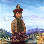Peruvian Girl And Her Pet Falcon By Christine Lytwynczuk