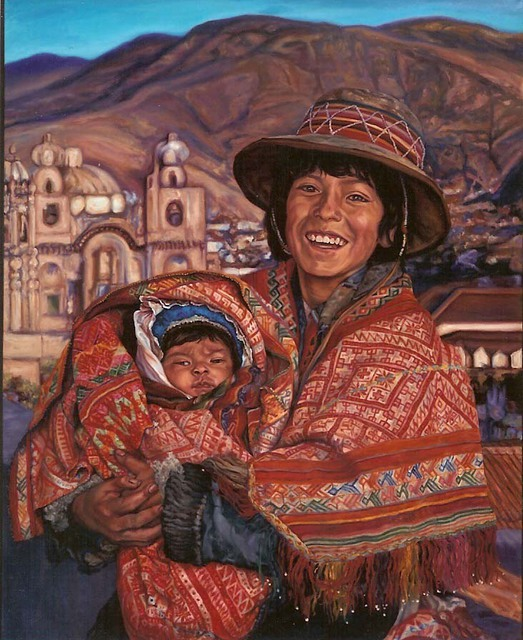 Christine Lytwynczuk  'Peruvian Boy With Baby', created in 2006, Original Painting Other.