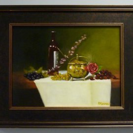 Dennis Chadra: 'Brass Pot with Red Rose and Grapes', 2011 Oil Painting, Still Life. Artist Description:  Brass, Pot, Still Life, Oil on Linen, Red Rose, Grapes  ...