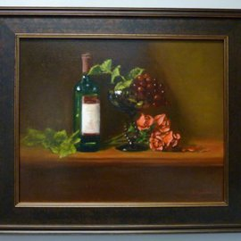 Dennis Chadra: 'Green Compote With Grapes and Roses', 2011 Oil Painting, Still Life. Artist Description:  Green Compote, Grapes, Roses, Still Life, Oil on Linen,    ...