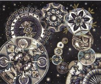 Cheryl Johnson: 'Alien Cosmos Black and White', 2000 Marker Drawing, Mandala.  This is a drawing of many circular mandala- like images with extra- terrestrial themes using black and gray Prisma markers. ...