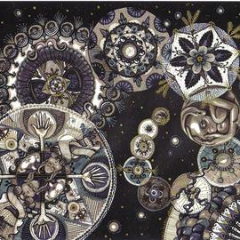 Cheryl Johnson: 'Alien Cosmos Black and White', 2000 Marker Drawing, Mandala. Artist Description:  This is a drawing of many circular mandala- like images with extra- terrestrial themes using black and gray Prisma markers. ...