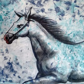 Chaitan Bhosale: 'Horse', 2015 Acrylic Painting, Figurative. Artist Description:  They are running and thinking about way and goal. horse are not confirmed a way ...