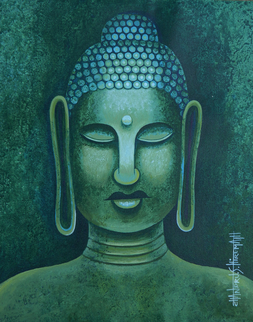 Chandru Hiremath  'Buddha-Csh008', created in 2014, Original Painting Acrylic.