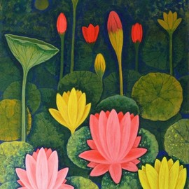 Chandru Hiremath: 'lotuscsh0014', 2016 Acrylic Painting, Floral. Artist Description: Lotus...