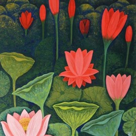Chandru Hiremath: 'lotuscsh0015', 2016 Acrylic Painting, Floral. Artist Description: Lotus...