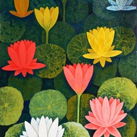 Chandru Hiremath: 'lotuscsh0018', 2016 Acrylic Painting, Floral. Artist Description: Lotus...