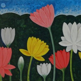Chandru Hiremath: 'lotuscsh0020', 2016 Acrylic Painting, Floral. Artist Description: Lotus...