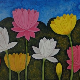 Chandru Hiremath: 'lotuscsh0022', 2016 Acrylic Painting, Floral. Artist Description: Lotus...