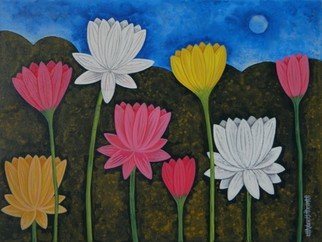 Chandru Hiremath: 'lotuscsh0023', 2016 Acrylic Painting, Floral. Artist Description: Lotus...