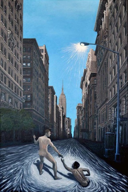Chandle Lee  '5th Avenue Rat Race', created in 2009, Original Painting Oil.