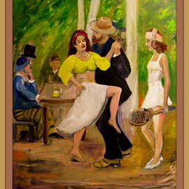 Charles Hanson: ' DANCE  by Renoir reconfigured', 2015 Oil Painting, Figurative. Artist Description: Added new dance partner and Tennis playing jealous girlfriend, with a racket. ...