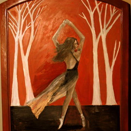 Charles Hanson: 'silk mill dancer', 2017 Oil Painting, Figurative. Artist Description: oil on wood in frame made frame a 100 year silk mill. ...