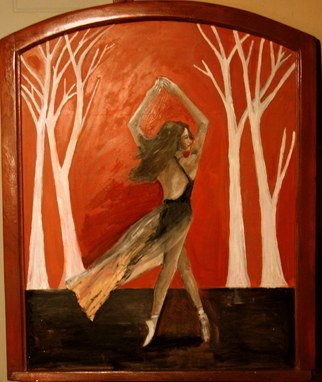 Charles Hanson: 'silk mill dancer', 2017 Oil Painting, Figurative. oil on wood in frame made frame a 100 year old silk mill window frame. ...