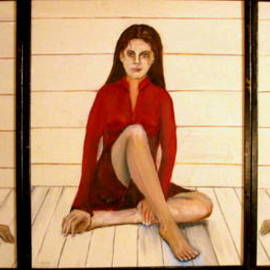 Charles Hanson: 'tripic', 2010 Oil Painting, Figurative. Artist Description: Twin women, with sister in the middle. ...