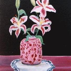 Chantal Powell: 'Pink Lilies', 1999 Oil Painting, Floral. Artist Description: Oil on canvas...