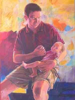 Acrylic Painting by Doyle Chappell titled: Dr  Rebber and child, 2010