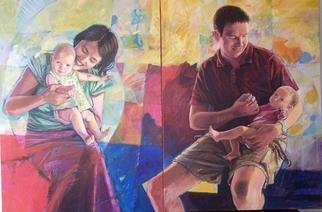 Acrylic Painting by Doyle Chappell titled: Dr and Mrs David Rebber with children, 2010
