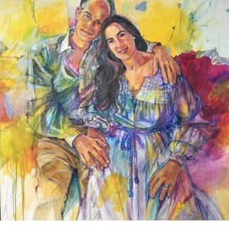 Doyle Chappell: 'ez and christy', 2020 Acrylic Painting, Portrait. A portrait of love for Valentines day.  These two people become as one spring flower. Loose, and transparent, with vibrant colors, this piece is a force of nature.  ...