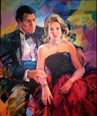 Doyle Chappell: 'lotsie and rick', 1995 Acrylic Painting, Portrait. The vibrant colors, energetic brush work, as well as the loose open areas lend a life force to this painting that seems to move and breath.  The relaxed yet formal attire give a elegant and sensuous presentation of these two dynamic personalities.  Their love for each other is clearly a ...