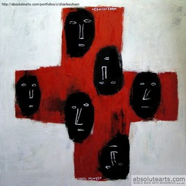 Charles Cham Artwork 1672 THE CROSS I, 2005 Oil Painting, Mystical
