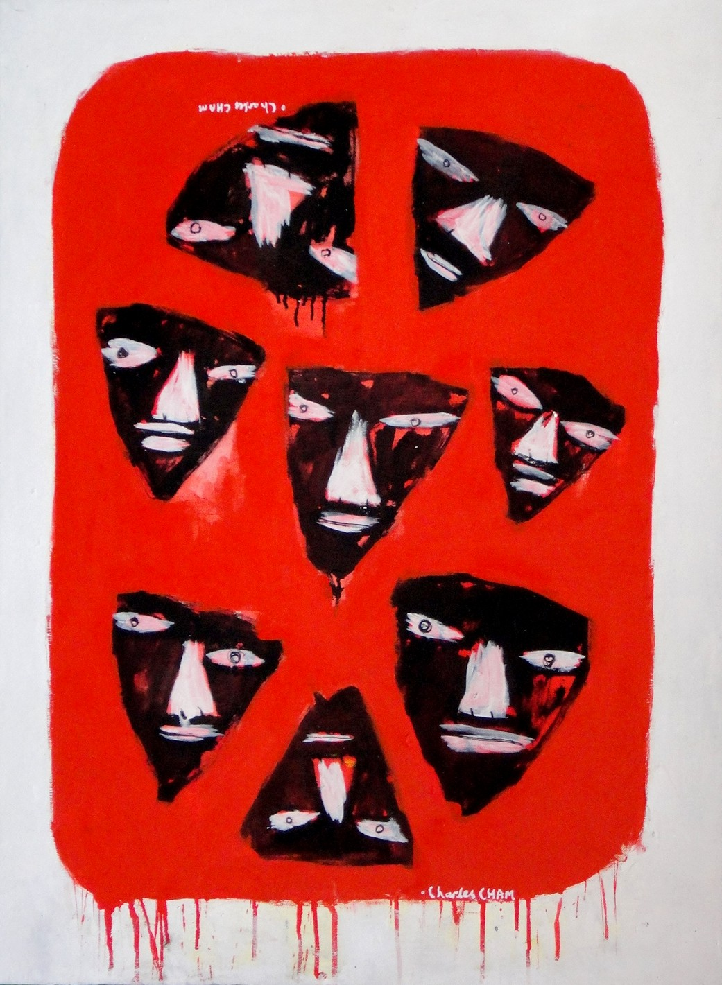 Charles Cham Artwork 2014 EIGHT MASKS, 2011 Oil Painting, Mask