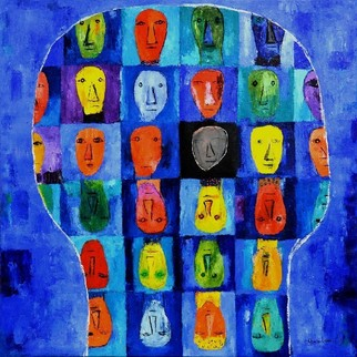 Charles Cham Artwork 2095 THE BIG HEAD, 2012 Oil Painting, Life