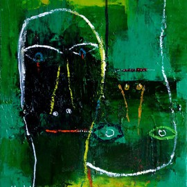 Charles Cham Artwork 2161 GREEN FACES, 2014 Oil Painting, Portrait
