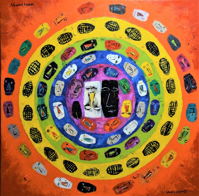 Charles Cham: 2537 the great sacral chakra, 2018 Oil Painting
