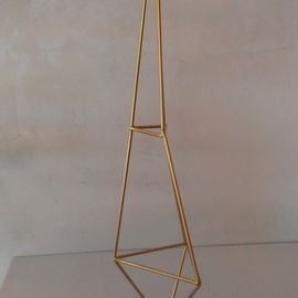 Charles Mctheeney: 'The Pinnacle', 2018 Steel Sculpture, Abstract. Artist Description: Welded steel in gold on marble 32 H 8 W...
